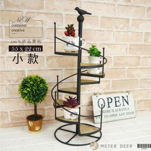 花架 小鳥旋轉樓梯 盆栽架 置物架 鐵製 園藝花架 展示架 美式鄉村 zakka 裝飾擺飾 -米鹿家居