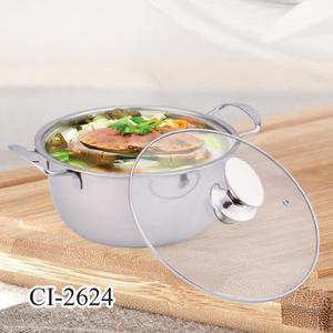 【鵝頭牌】26cm (316不鏽鋼)福氣料理湯鍋 CI-2624 附玻璃蓋~火鍋/湯鍋《刷卡分期+免運》