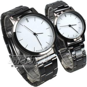 KEVIN 情人對錶 都市情人夢 簡約時刻 時尚腕錶 防水手錶 對錶 白色 KV2280白大+KV2280白小