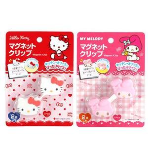 日本原裝 Kitty 凱蒂貓 美樂蒂 大頭造型 可夾式磁鐵 療癒小物 冰箱磁鐵 文件夾 磁石吸鐵【Z90223】