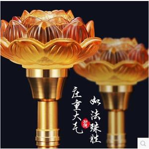 蓮花燈佛教用品LED琉璃蓮花燈七彩供佛燈免運直出 交換禮物