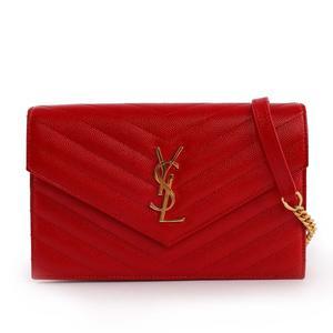 【YSL】V紋荔枝皮金鏈 Logo WOC 斜背包(紅色) 393953 BOW01 6515