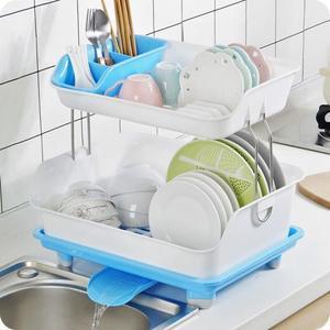 瀝水架廚房雙層置物架加厚塑料瀝水架碗架餐具碗筷收納架碗碟架碗櫃wy