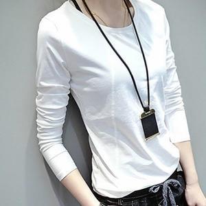 衛生衣 2019春裝新款純棉打底衫女 衛生衣長袖白色t恤女裝韓版小衫上衣服潮 彩希精品