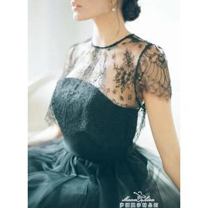 蕾絲打底衫女夏短袖內搭鏤空吊帶裙外搭短款透明薄紗透視紗網上衣『夢娜麗莎精品館』