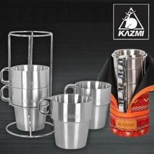 丹大戶外【KAZMI】不鏽鋼雙層馬克杯4入組 紅色 登山/戶外/啤 酒杯/飲料杯/附收納袋 K3T3K044RD