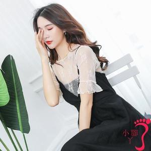 蕾絲上衣 春季韓版內搭上衣性感洋氣網紗鏤空打底衫女蕾絲仙氣短袖t恤