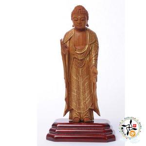 阿彌陀佛{台灣肖楠木}手繪描金木雕佛像13公分  【十方佛教文物】