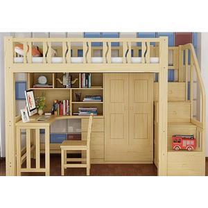 高架床成人實木多功能組合床上下床高低帶書桌上床下桌下櫃衣櫃床DF 全館免運
