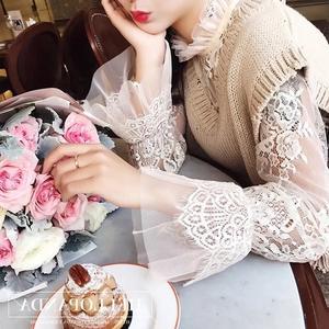 【GZ32】韓版薄款鈎花鏤空內搭網紗上衣 長袖立領蕾絲衫 長袖上衣