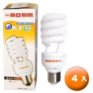 東亞照明 半螺型螺旋燈管 23W 120V 燈泡色 2800K (4入)/組