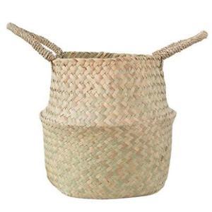北歐植物花盆裝飾手工編織花籃水泥盆綠植牛皮紙袋金屬花盆ins風
