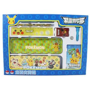 【卡漫城】 寶可夢 文具組 9件 ㊣版 pokemon 神奇寶貝 皮卡丘 盒裝 禮盒 鉛筆盒 鉛筆 便條紙 剪刀