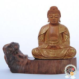 阿彌陀佛{台灣肖楠木}手繪描金木雕佛像(坐姿)  【十方佛教文物】