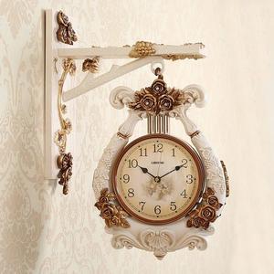 掛鐘 歐式雙面掛鐘客廳創意靜音兩面鐘錶現代復古美式時尚家用時鐘豎琴T