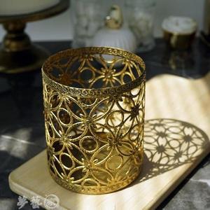 糖罐子 金色棒棒糖桶 歐式家居裝飾器皿 糖罐婚慶道具復古罐子甜品台擺件 夢藝家