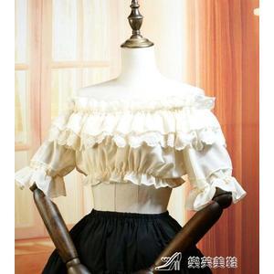 雪紡衫原創lolita洋裝軟妹打底衣雪紡一字領內搭蕾絲短袖少女襯衫夏裝 樂芙美鞋