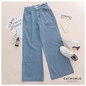 Catworld 正韓空運*花瓣腰頭設計牛仔寬褲【12001819】‧S/M/L