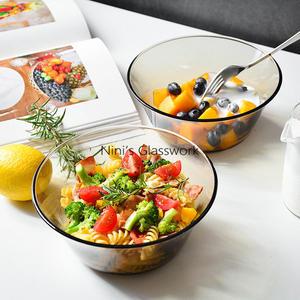 2件套北歐茶色玻璃碗盤米飯碗面條碗鋼化玻璃沙拉碗麥片碗可微波    伊芙莎
