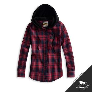 【Roush】 女生法蘭絨格紋連帽襯衫 -【815578】