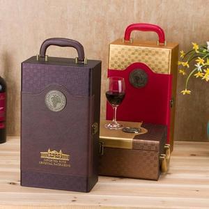 高檔紅酒盒子單雙支紅酒禮盒 現貨紅酒皮盒木箱定制葡萄酒包裝盒 台北日光