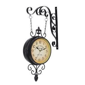 歐式復古雙面掛鐘懷舊地中海風格靜音機芯鐵藝雙面鐘  ℒ酷星球