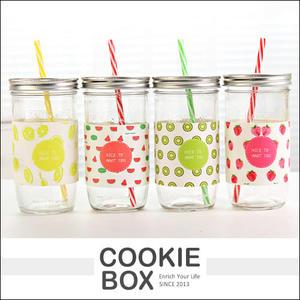 NICE TO MEET YOU 復古 水果 大容量 梅森杯 玻璃杯 冷水杯 咖啡杯 繽紛 色彩 *餅乾盒子*