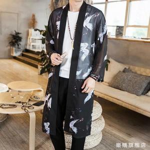 中國風佛系男裝冬季風衣男薄長版披風男青年外套古風長衫道袍漢服