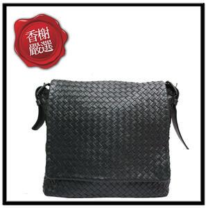 BV編織掀蓋斜背包 側背包BOTTEGAVENETA黑色二手商品
