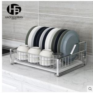 小鄧子304不銹鋼碗架單層瀝水架廚房置物架收納晾放碗盤架子(主圖款-加大號台式碗碟架)