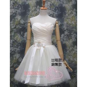 ♥ 俏魔女美人館 ♥ 出租禮服 韓版新娘短款連衣裙結婚無袖禮服敬酒晚裝伴娘修身小禮服性感