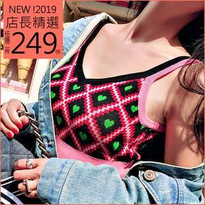 克妹Ke-Mei【AT50839】泰國潮牌 愛心電繡性感吊帶針織背心