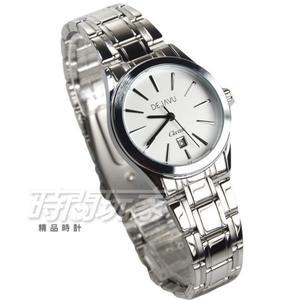 DEJAVU 簡約時刻防水腕錶 學生手錶 不銹鋼帶 日期顯示窗 女錶 小款 5018G白小