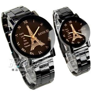 KEVIN 簡單羅馬時刻 鐵塔時尚腕錶 IP黑電鍍 情侶對錶 立體多角切割鏡面 KV20鐵塔羅大B+KV20鐵塔羅小B