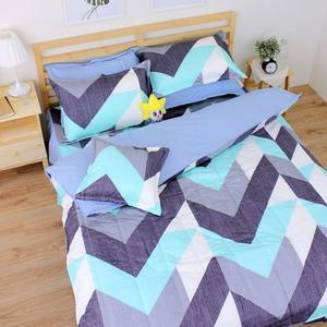 卡布里 單人鋪棉床罩組(3.5x6.2呎)五件式(100%純棉)藍色[艾莉絲-貝倫] MIT台灣製T5H-F-196-BU-S