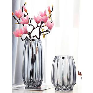 花瓶創意大號玻璃瓶透明彩色水培富貴竹百合玫瑰豎棱花瓶客廳插花擺件