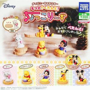 全套5款【日本正版】迪士尼 坐姿公仔 扭蛋 轉蛋 擺飾 小熊維尼 瑪麗貓 白雪公主 TAKARA TOMY - 864018