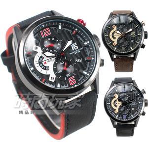 T5 sports time 粗曠型男 大三眼計時手錶 男錶 防水 日期視窗 皮革 黑 H3630G