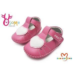 寶寶學步鞋 真皮鞋墊 吸汗防臭 台灣製 天鵝CHA CHA TWO寶寶鞋F3031#桃紅◆OSOME奧森鞋業