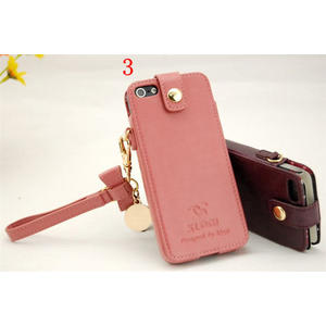iphone 5 免運 蘋果iphone5蝴蝶結金屬真皮保護套掛鏈外殼皮套直插式