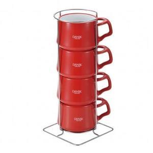 《丹麥風格DANSK》珂本陶瓷迷你馬克杯4件組(紅)