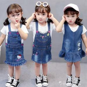 春夏裝新款女童牛仔背帶裙女01234歲 軟牛仔背心裙不掉色 时尚潮流