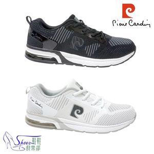 運動鞋.Pierre Cardin皮爾卡登.飛織網布運動鞋.白/黑【鞋鞋俱樂部】【167-PDL7648】