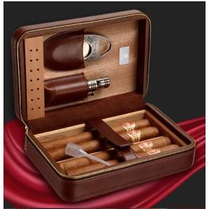 雪茄盒 保濕盒醇香雪松木便攜式雪茄刀雪茄打火機套裝