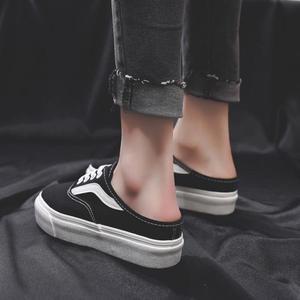 無后跟帆布鞋女厚底韓版百搭學生一腳蹬懶人鞋復古半拖鞋  極有家