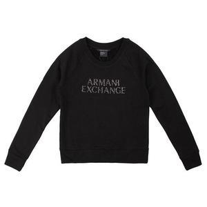 【蟹老闆】AX ARMANI EXCHANGE 女大學T 鉚釘字 黑色