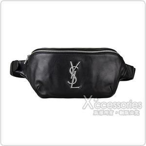 YSL  Classic Monogram銀字LOGO牛皮拉鏈胸掛腰包(黑)