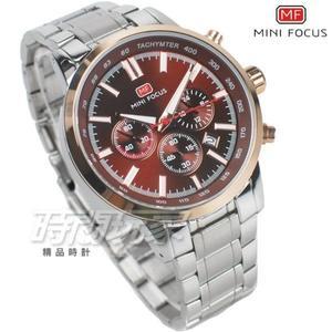 MINI FOCUS 急速賽車錶 三眼多功能 計時碼錶 日期視窗 防水手錶 學生錶 MF0133咖