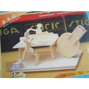 DIY木質3D立體拼圖(S-024乒乓球筆筒.中2片入)/一組入{定49}