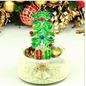 食尚玩家 精品日本sankyo機芯圣誕新款拉絲玻璃圣誕樹旋轉音樂盒圣誕節禮物金色圣誕樹